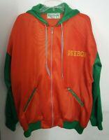 Vintage Reebok Sport Coach Jacket Large - L Full Zip Hoodie Orange Green 70s