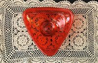 VINTAGE DARK ORANGE TRIANGLE SHAPE GLASS FOOTED BOWL CANDY DISH