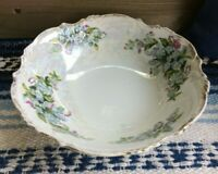 """8"""" Vintage Sweet Shabby Chic Floral Gold Plated Scalloped Porcelain Serving Bowl"""