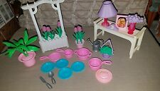 Vintage Barbie House dishes flowers plants bed table lamp