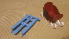 Blue Sled and Red Sleigh Ornaments, Wooden, Set of 2