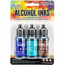 Tim Holtz Alcohol Ink .5oz 3/Pkg Mariner-Indigo/Mermaid/Teakwood NEW