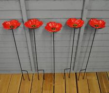 Set of 5 x Cast Iron Poppy Dish Wild Garden Bird Feeders