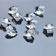 20pcs Snowflake Flower Faceted Crystal Glass Clear DIY Beads 1 Inch With 2 Holes