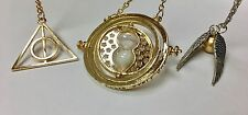 Harry Potter Time Turner, Gold Deathly Hallow Pendant & Snitch Necklace Bundle