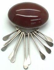 HEAVY Vintage Mexico Sterling Silver 925 Oval Carnelian Drop Dangling Pin Brooch