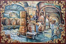 "Mural Hand Painted ""wine cellar "" 24 tiles Spanish ceramic spain Talavera"