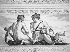 NUDE Venus Apollo in Villa Barbaro - 1876 ETCHING Print after Veronese Painting