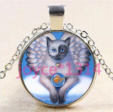 Vintage Angel Cat Cabochon Tibetan silver Glass Chain Pendant Necklace #6167