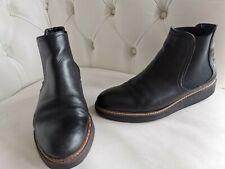 John Rocha black leather low wedge heel ankle boots size 5.