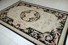 Beautiful Hand Woven Black Beige Fine Cottage Decor French Aubusson Rug#19-79-95
