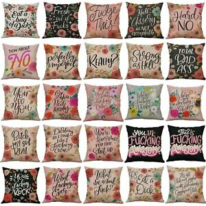 Throw Pillow Covers 18'' Pretty Sweary Art Print Decorative Pillows for Any Room
