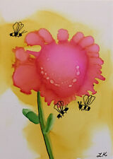ACEO original pink Flower bumblebees on yellow painting by Lynne Kohler