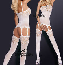Sexy Erotic Crotchless White Mesh Fishnet Bodystocking Lingerie One Sz #4