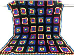 """Vintage Granny Square Afghan Crochet Blanket 72"""" x 60"""" Bed Sofa Couch Throw"""