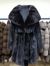 REAL NEW MINK FUR COAT NAFA BLACK SAGA MEXA NERZMANTEL FOX SABLE CHINCHILLA