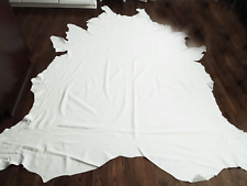 """58 SQ FT XL LEATHER COWHIDE WHITE 8'6"""" x 6'11"""" UPHOLSTERY/CRAFTS $350"""