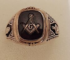 Vintage Men's Masonic Ring 10K Yellow Gold 9.33 grams Size 10 1/4 ((482))