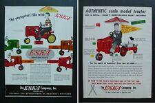 RARE Vtg 1955 2-sided DEALER Color Ad - ESKA Pedal Tractor Oliver, Farmall, Case