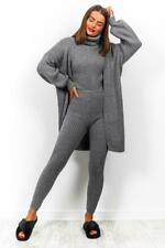 WOMENS LADIES CHARCOAL KNITTED THREE PIECE SET