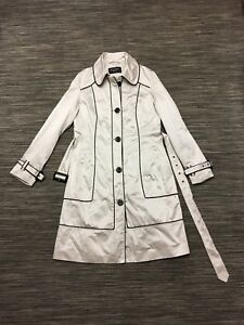 Principles Women's Trench Coat In Ivory Beige Black Size M Excellent Condition