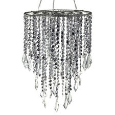Hanging Beaded Chandelier with Icicle Crystals, Silver, 10-1/2-Inch