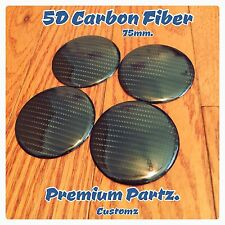 75mm Carbon Fiber Center Cap Stickers Universal Black Custom 5D 4PC Set New USA