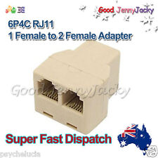 RJ11 6P4C Y 1 Female to 2 Female Adapter Divider Splitter Telephone Phone Fax