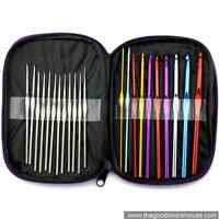 22pc Multi-colour Aluminum Crochet Hooks Needles Knit Weave Craft Set with Case