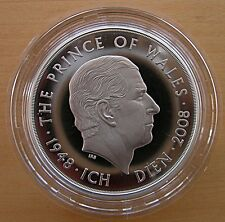 2008 HRH Prince Charles 60th Birthday £5 Pounds Silver Piedfort Coin Royal Mint