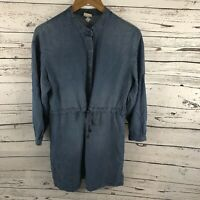 A New Day Denim Style Dress Long Sleeve Women's Blue Chambray Large