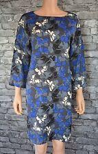 Women's Pretty Black Blue Grey Floral Short Sleeved Shift Dress Uk Size 14