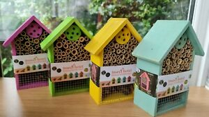 Colourful Insect Hotel, Wooden Insect bug Nesting House, 20cm, Brand New