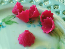 #23B Large Bead Caps Pink 11mm Floral Etched Acrylic Cone Shape Bright Flower