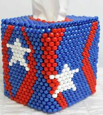 Pony Beaded Tissue Cover Holder Box Red-White-Blue Stars Stripes USA Patriotic