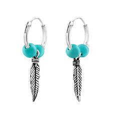 Turquoise Vintage Feather Charm Sterling Silver Mini Hoop Earrings 12mm