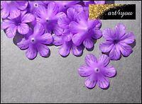 Acryl Blüten Perlen Blumen gefrostet lila 33mm x 8mm Schmuckbasteln DIY