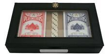 Black Watch Poker Cards & 5 Dice in Black PU Case Personalised ME31 TM