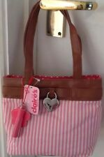 NEW CLAIRE'S ACCESSORIES pink white stripe mini charm handbag Birthday Gift