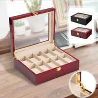 10 Grids Wooden Watch Case Display Box Glass Jewelry Storage Organizer Holder