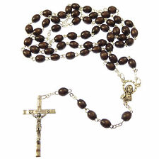St. Theresa Therese brown wood rosary beads with Novena book Catholic wooden