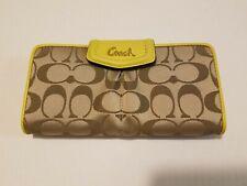 Coach Signature Sateen Slim Envelop Wallet Khaki/Chartreuse - NWT (F48096)