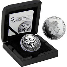 GUY FAWKES MASK Anonymous V for Vendetta 1Oz Black Proof Ag 5$ Cook Islands 2016