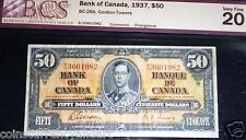 1937 $50  Bank Of Canada , BANKNOTE - BC-26b. CHANGEOVER signatures  BCS VF20