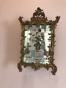 Hollywood Regency Victorian Brass Mirror Shadow Boxes French Chic Reduced Price