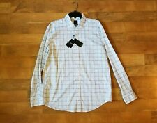 """HUGO BOSS slim fit """"Ridley"""" white blue long sleeve shirt NEW WITH TAGS"""