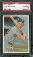 1957 Topps BB Card #217 Gene Stephens Boston Red Sox PSA NM-MT 8 !!!!