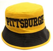 Pittsburgh Steelers Yellow Bucket Golf Fishing Sun Hat Cap Embroidered Text Logo