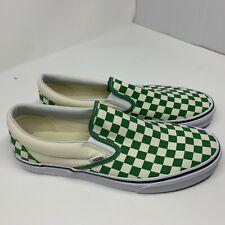 Vans Classic Slip-On Deep Grass Green Off White  Checkerboard Men's Sz 10