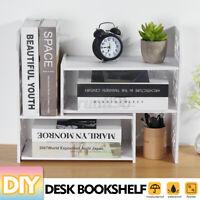 Expandable Desktop Bookshelf Bookcase Organizer Rack Office Unit Storage Shelf ~